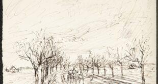 """Izložba"""" Ivan Radović, Crteži iz kolekcije Narodnog muzeja"""": Konjska zaprega na seoskom putu, oko 1918. (foto: Narodni muzej)"""