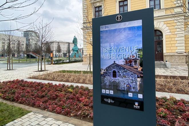 Interaktivni panel TOB na rekonstruisanom Savskom trgu (fotografiju obezbedio TOB)