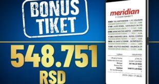 Meridianbet: Veliki dobitak tiket - uzeo pola miliona!