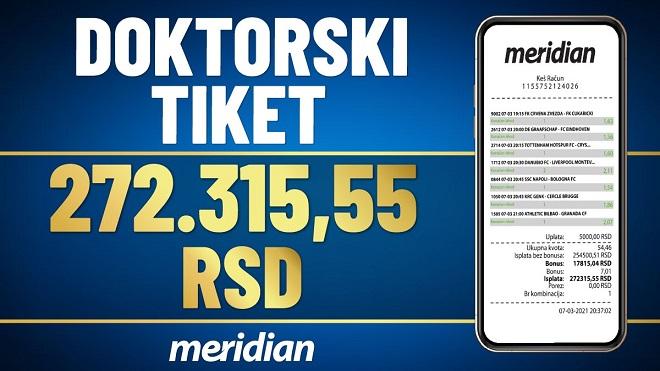 """Meridianbet: Doktorski tiket - """"gađao"""" sve fikseve i osvojio 272.315 RSD!"""