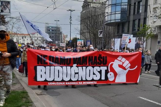 Protest Udruženja radnika na internetu (foto: Mirjana Miljević)