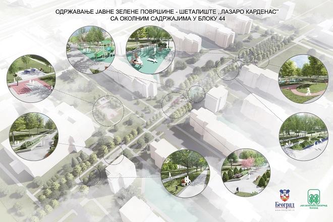 """Šetalište """"Lazaro Kardenas"""" (3D prikaz: JKP """"Zelenilo - Beograd"""")"""