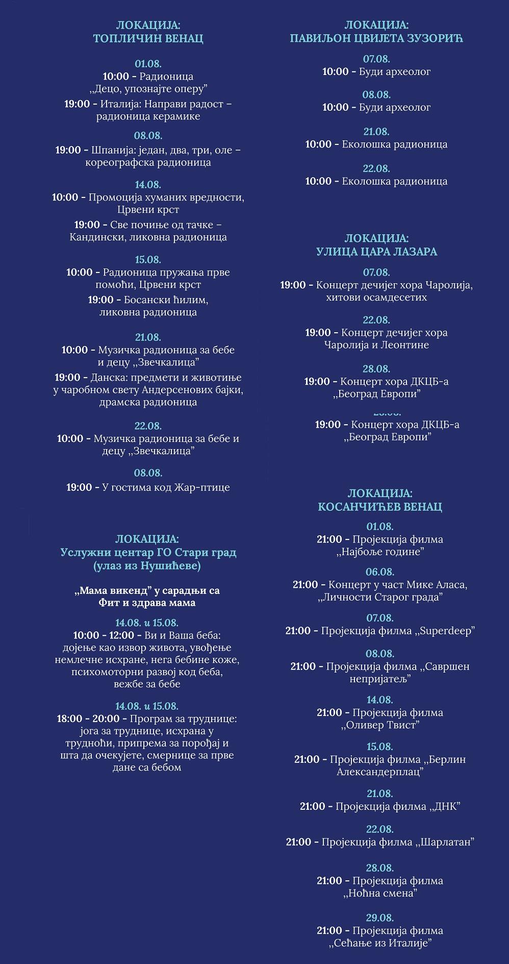 Beograd živi - program za avgust 2021.