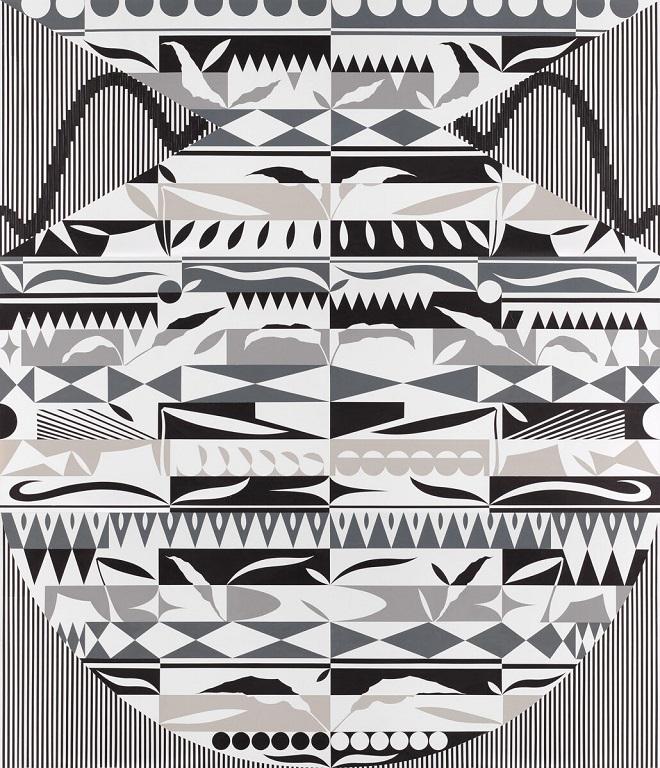 Damir Sobota - Palindrom 4 (4 1/3, 4 2/3, 4 3/3); kolaž, papir na platnu, lak