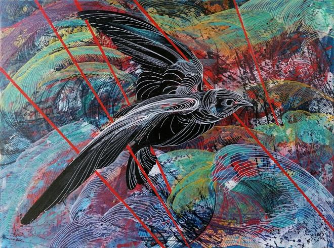 Jelena Vitorović - Ptica, akrilik na platnu
