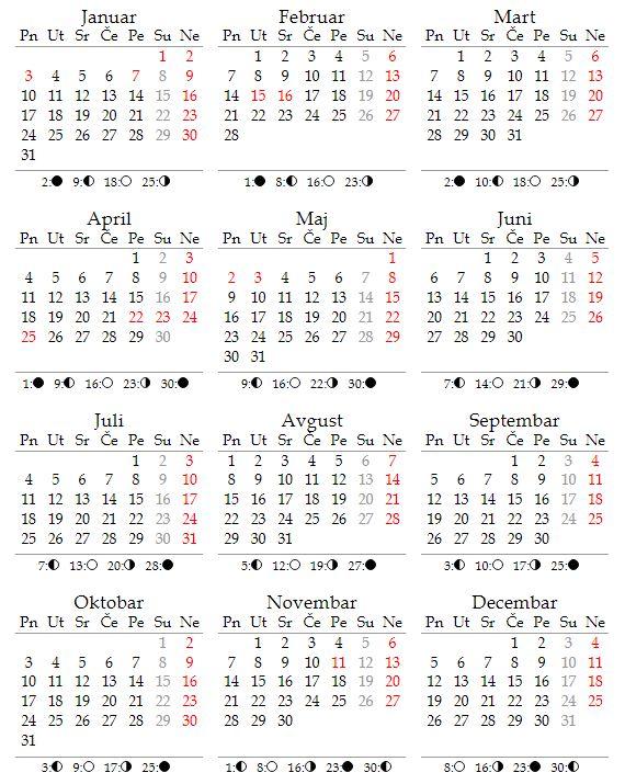 Kalendar za 2022. godinu