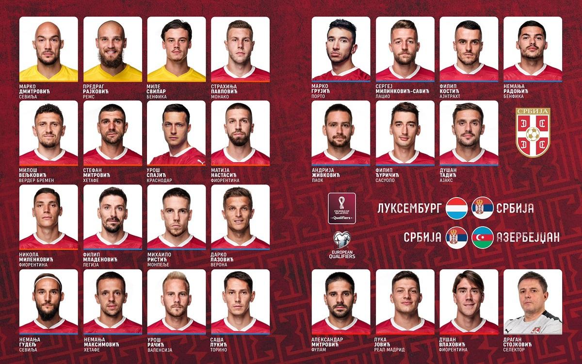 Reprezentacija Srbije - sastav u oktobru 2021.